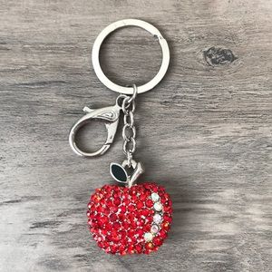 fashion bug red apple rhinestones keychain